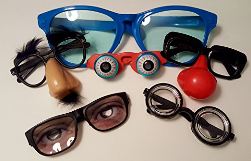 [Funny Disguise Assorted Glasses- Set of 6] (Clown Glasses)