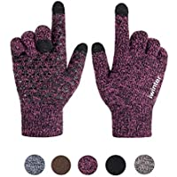 Xuzirui Winter Warm Touch Screen Gloves for Women Men Knit Wool Anti-Slip Thermal Soft Lined Texting
