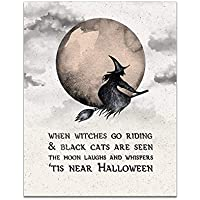 When Witches Go Riding - Vintage Halloween - Unframed 11x14 Print - Holiday Decorations