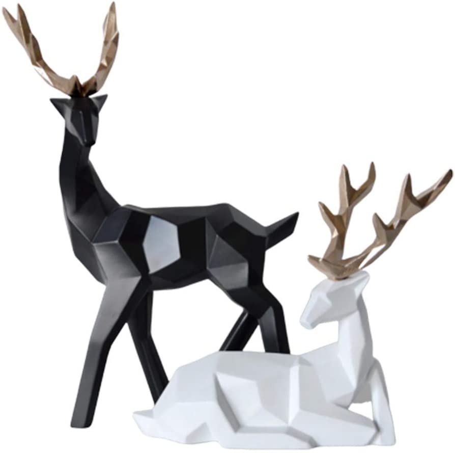 oAtm0eBcl Decoration 2Pcs Geometric Couple Deer Statue Elk Sculpture Figurine Home Living Room Decor - Black + White Home Decorations for Living Room Home Decoration