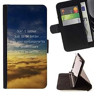 Momo Phone Case / Flip Funda de Cuero Case Cover - Mejor Nubes Motivar Inspire de mensajes de texto - Samsung Galaxy J1 J100