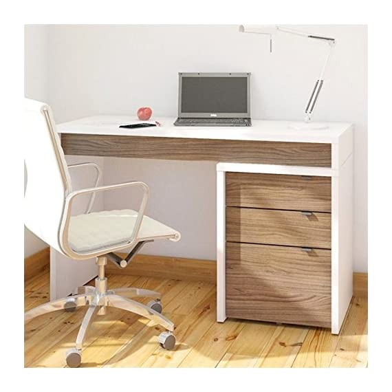 Nexera Liber-T 3 Drawer Computer Desk in White and Walnut - Finish: White, Walnut Material: Engineered Wood, Melamine Application: Home Office - writing-desks, living-room-furniture, living-room - 51vEkL12wkL. SS570  -