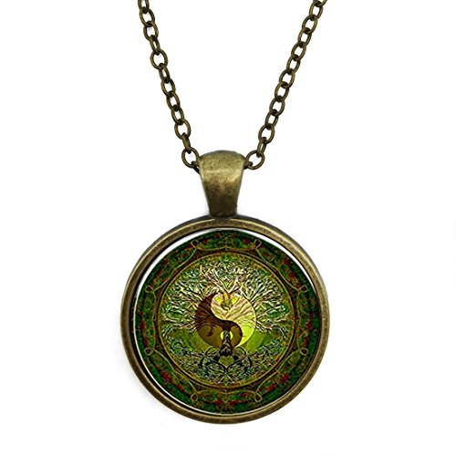 Bronze Necklace Yin Yang Tai Chi Green Mandala Special Design Glass Cabochon Dome Jewelry by Pretty Lee