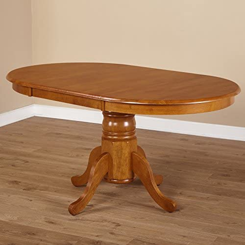 Simple Living Oak Rubberwood Round Oval Farmhouse Dining Table