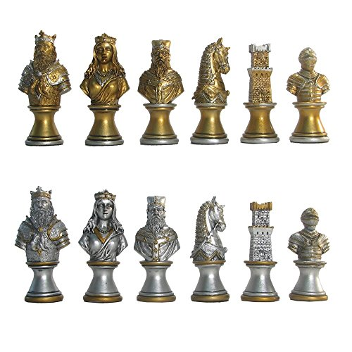 World Wise Imports Hand Painted Polystone Medieval Pedestal Chess Pieces ()