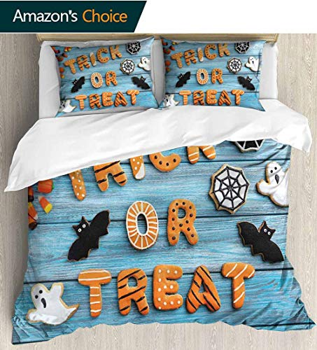 Halloween 3D Bedding Quilt Set,Fresh Trick or Treat Gingerbread Cookies on Blue Wooden Table Spider Web Ghost Reversible Coverlet,Bedspread,Gifts for Girls Women 79