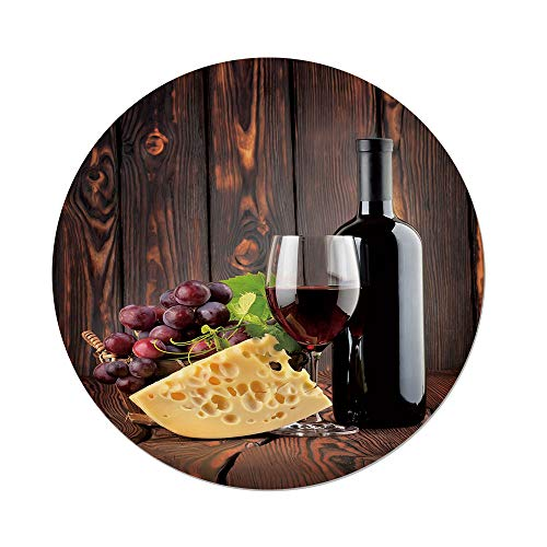 iPrint Polyester Round Tablecloth,Wine,Red Wine Cabernet Bottle Glass Cheese Grapes on Wood Planks Print Decorative,Brown Burgundy Cream,Dining Room Kitchen Picnic Table Cloth Cover Outdoor Indo