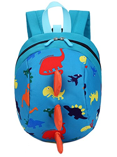 Toddler kids Dinosaur Backpack Book Bags with Safety Leash for Boys Girls (8 Blue) (Toddler Back With Leash)