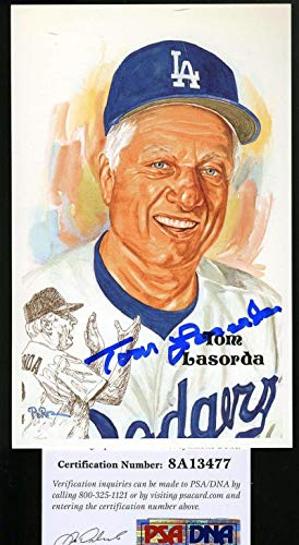 TOMMY LASORDA Coa Autograph Perez Steele Hand Signed Authentic PSA/DNA Certified Original MLB Art and Prints