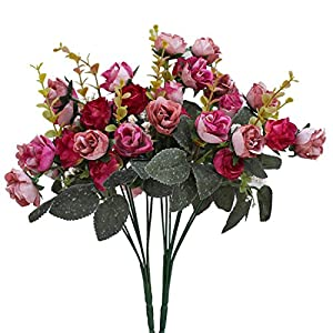 Luyue 7 Branch 21 Heads Artificial Silk Fake Flowers Leaf Rose Wedding Floral Decor Bouquet,Pack of 2 (Rose Coffee) 2