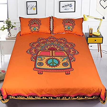 Sleepwish Retro Hippie Bus Bedding Bright Orange Funky Duvet Cover Old  Hippie Peace Sign Bed Set