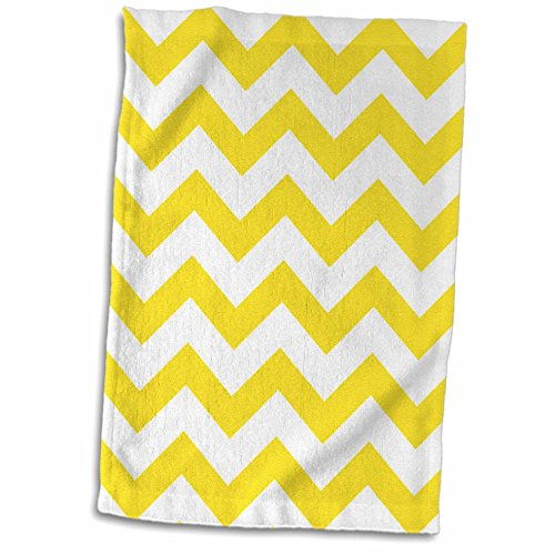 - 3D Rose Yellow and White Chevron Towel, 15