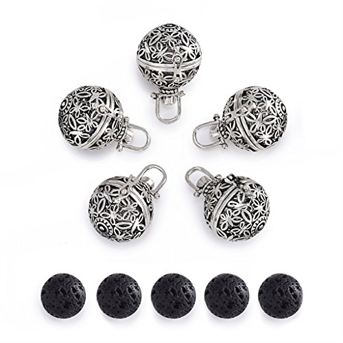 Romance Jewelry 5Pcs Antique Silver Diffuser Locket Aromatherapy Essential Oil Pendant Cage Locket with Lava Beads