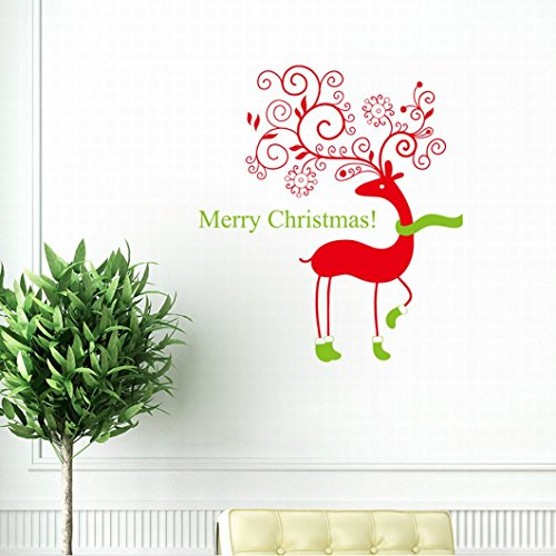 dzt1968 Wall Quotes Decal Wall Sticker Christmas Removable Vinyl Art Window Wall Sticker Decals Home Decor,Size: - Quotes Christmas