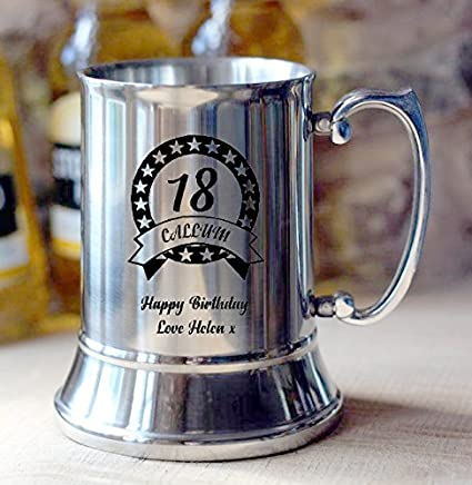 Uk Gift Store Online Engraved Personalised BIRTHDAY Steel Beer Tankard