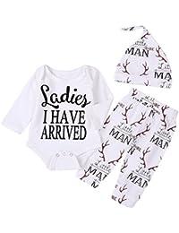 Newborn Suit For Baby Shower Deer Print Long Sleeve Romper+Long Pants+Hat