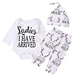 Newborn Suit For Baby Shower Deer Print Long Sleeve Romper+Long Pants+Hat (0-3months, Man)