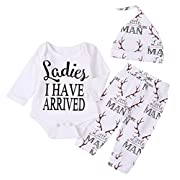Newborn Suit For Baby Shower Deer Print Long Sleeve Romper+Long Pants+Hat (0-3months, Man)