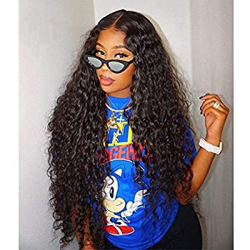 Image of Health and Household Aibei Hair 24 Inch 150% Density 13X4 Lace Front Wigs Water Wave With Baby Hair Pre Plucked For Black Women 100% Pure Natural Color Brazilian 10A Remy Human Hair Ear to Ear Lace Frontal