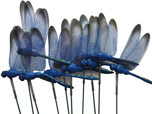 LeBeila Dragonfly Outdoor Decor for Yard Planter Decorations Gardening Stakes 3D Dragonfly Art Craft Garden Ornament and Patio Yard Party Pot Flower Decals Statues 7 cm (10, Blue)