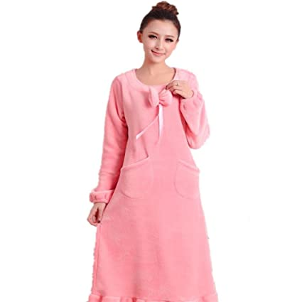 48d58edeae DMMSS Ladies Flannel Nightgown in Autumn and Winter Fashion Women Pajamas  Thick Long Sleeved Nightdresses Sleepwear