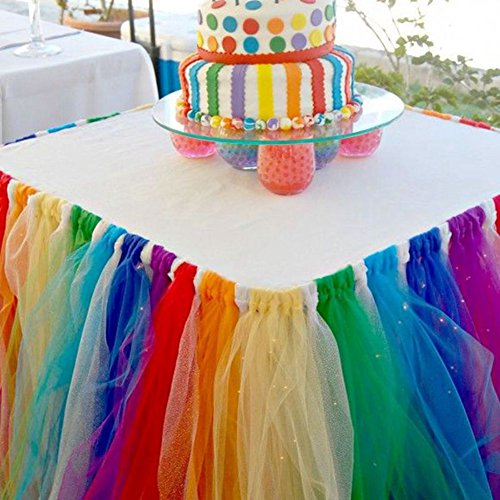 Zehui Tulle Table Skirts Cover Table Cloth for the Wedding Party and all kinds of party (Rainbow color 80cm91.5cm)