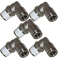 "Utah Pneumatic Push to Connect Air Fittings 1/4"" Od 1/4"" Npt Elbow Nickel-Plated Brass Pneumatic Fittings Air Line Fittings 90 Degree Air Fitting Union Fitting Pneumatic Connectors (Pack of 5)"