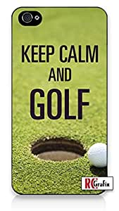 Keep Calm and Golf iPhone 5C Quality TPU SOFT RUBBER Snap On Case for iPhone 5C - AT&T Sprint Verizon - White Case
