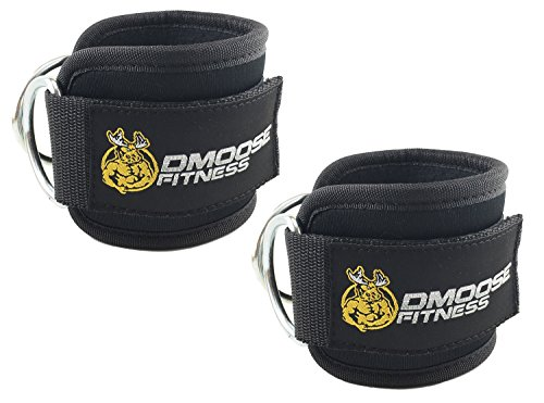 Attachment Strap (DMoose Fitness Ankle Straps for Cable Machines (Pair) - Stainless Steel Double D-Ring, Adjustable Comfort fit Neoprene, Glute & Leg Workouts - for Women & Men)