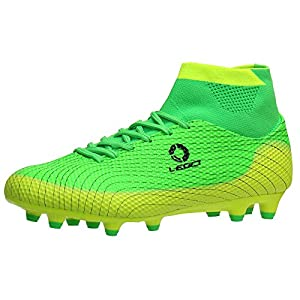 Aleader Boy's Athletic Soccer Cleats Football Boots Shoes Green 5 M US Big Kid