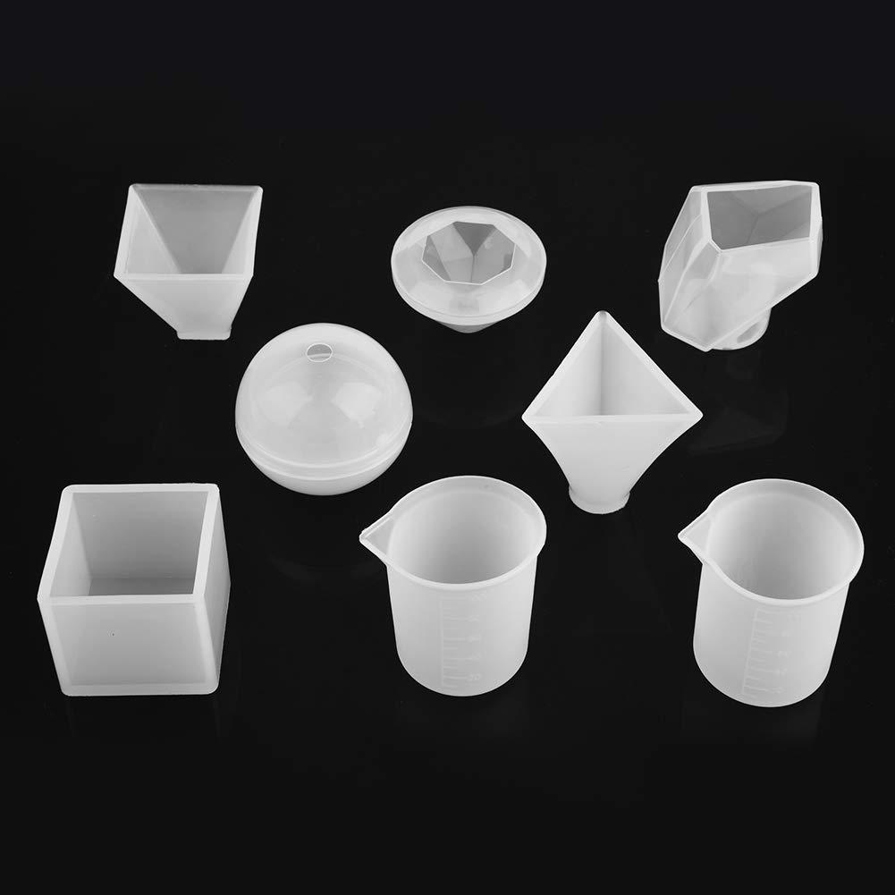 Moldes de fundición de resina, 6 paquetes de silicona de grado alimenticio moldes de resina resina epoxi diy molde bola pirámide cubo forma de cono ...