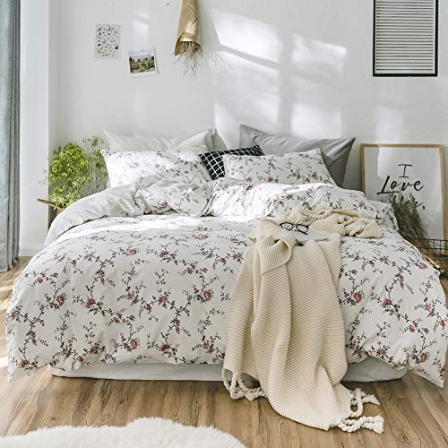【LATEST ARRIVAL】Duvet Cover Floral Cotton Bedding Set Girls Duvet Cover Queen 3 Pieces Blossom Chic Leaves Duvet Cover Full Comforter Cover Set Bedding Set Soft Lightweight,NO Comforter NO Sheet