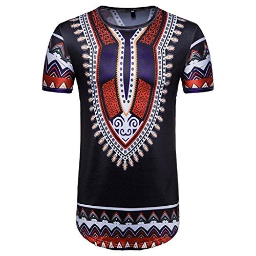 Goddessvan African Print Top,Mens Summer Casual Short Sleeve O Neck T-Shirt Blouse
