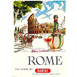 Rome Italy Colosseum Qantas Italian Europe Vintage Airlines Travel Home Collectible Wall Decor Art Advertisement Poster Print. Measures 10 x 13.5 inches