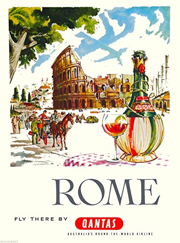 A SLICE IN TIME Rome Italy Colosseum Qantas Italian Europe Vintage Airlines Travel Home Collectible Wall Decor Art Advertisement Poster Print. Measures 10 x 13.5 inches