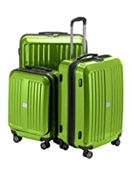 "HAUPTSTADTKOFFER – X-Berg - Set of 3 Hard-side Luggages Suitcase Hardside Spinner Trolley Expandable (20"", 24"" & 28"") TSA Applegreen glossy"