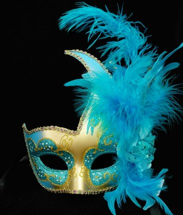 Venetian Side Feather Mask (Venetian Style Half Face Feather on Side of Mask in Sky Blue and Gold Finish)