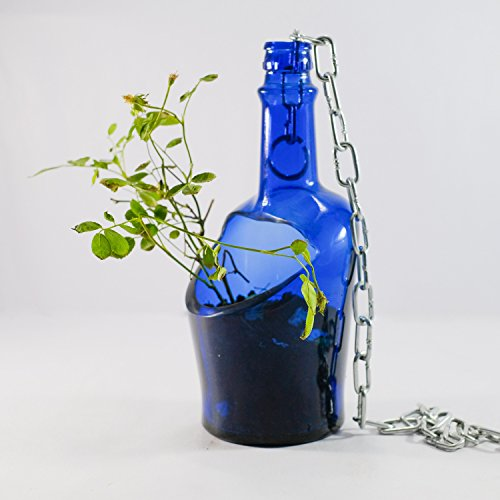 - Beautiful Hanging Succulent Planter Pot Made from Cobalt blue Whiskey Bottle - SINGLE