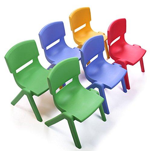 acking School Chair Set of 6 Multicolored Seat for Playroom Daycare ()