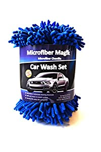 Microfiber Magik Car Wash Set - 2 Microfiber Mitts & FREE MICROFIBER SPONGE! Chenille Fabric, Mesh Screen Cloth, Best for Auto Detailing, Professional Cleaning, Mobile Car Washing, Do It Yourself Hand Wash, Chemical Free Washing, Protect Your Investment -