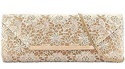 Grace Angel Women's Flower Lace Evening Clutch Purse Bag Bridal Handbag GA13288 Gold