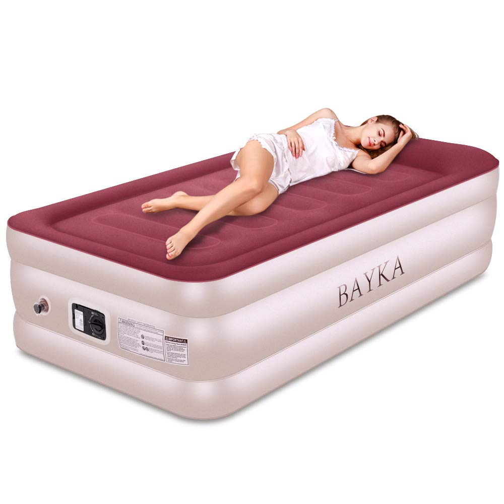 Twin Air Mattress with Built-in Pump & Pillow, Raised Elevated Double High Airbed for Guest, Blow Up Inflatable Upgraded Air Bed Air Mattresses