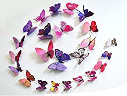 96 Pcs 3d Butterfly Stickers Home Decoration DIY Removable 3d Vivid Special Man-made Lively Butterfly Art DIY Decor Wall Stickers for Wall Decor Kids Room Bedroom Living Room 4 Colors
