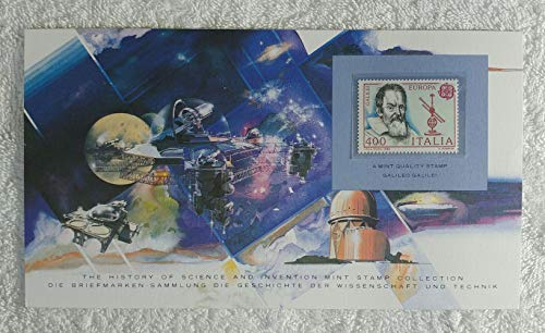 Galileo - Postage Stamp (Italy, 1983) & Art Panel - The History of Science & Invention - Franklin Mint (Limited Edition, 1986) - Galileo Galilei, Astronomy, Telescope