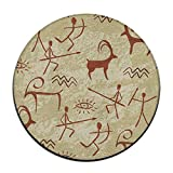 HYTRG Ethnic Symbols Cave Painting Art Round Seat Cushion Non Skid Machine Washable Round Chair Cushion Pad Stool Slipcover Mat Rug 16 Inch