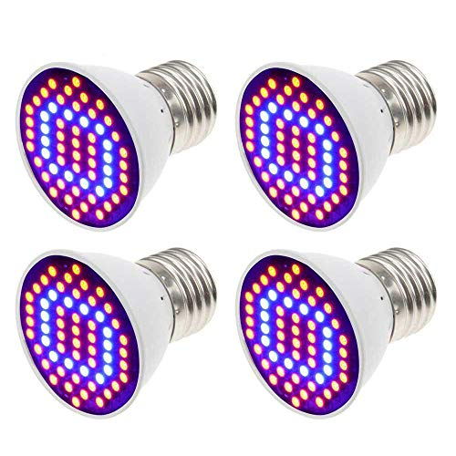 [Set of 4] Xjled 4 W Grow Light Plant Lamp Standard E26/E27 SMD 2835 60LEDs Red Blue Spectrum LED Grow Light Lamp