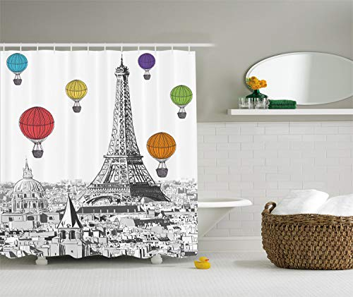 Ambesonne Paris Shower Curtain Eiffel Tower Cityscape Decor, Notre Dame with Colorful Hot Air Balloons, Polyester Fabric Bathroom Set with Hooks, 69 x 70 Inches Long, Grey White Green Blue Yellow
