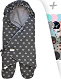 JANABEBE Swaddling Wrap, Car Seat and Pram Blanket Universal for Infant and Child car Seats e.g. Maxi-COSI, Britax, for a Pushchair/Stroller, Buggy or Baby 0 to 11 Months (Blue Heart, Fleece)