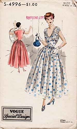 Vogue S-4996 Misses Vintage Special Design Dress Sewing Pattern Vintage 1949 Size 14 Bust 32