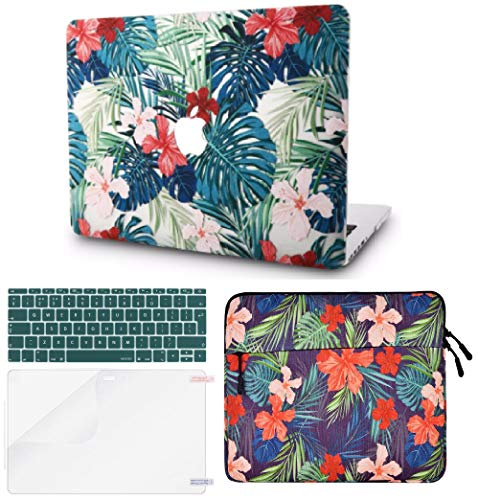 """KECC Laptop Case for Old MacBook Pro 13"""" Retina (2015-) w/Keyboard Cover + Sleeve + Screen Protector (4 in 1 Bundle) Plastic Hard Shell Case A1502/A1425 (Palm Leaves Red Flower)"""